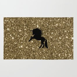Unicorn on sparkling golden glitter print Rug