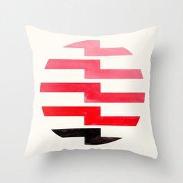 Minimalist Mid Century Circle Frame Red Zig Zag Colorful Lightning Bolt Geometric Pattern Throw Pillow