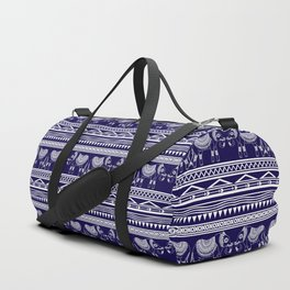 White and Navy Blue Elephant Pattern Duffle Bag