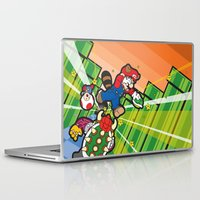 inception Laptop & iPad Skins featuring Inception Mario by thickblackoutline