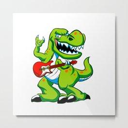 Dino rock plays a guitar. Metal Print