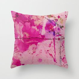 pink floral on crumbling wall Throw Pillow