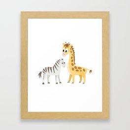 Safari Baby Zebra and Giraffe Framed Art Print