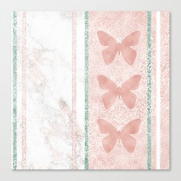 Snow White Peach Butterfly Abstract Pattern Canvas Print