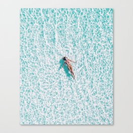 Blue water swimming girl woman beach art Canvas Print