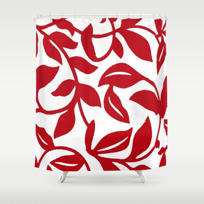 LEAF PALM VINE IN RED AND WHITE PATTERN Shower Curtain By Saundramyles