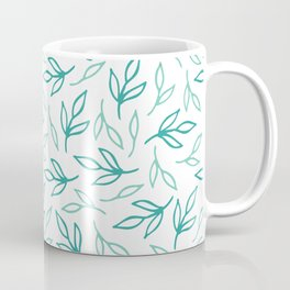 Bright Aqua Leaves Coffee Mug