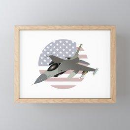 F-16 Jet Fighter with American Flag Framed Mini Art Print