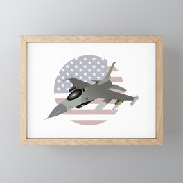 F-16 Jet Fighter with American Flag Framed Mini Art Print