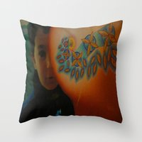 child Throw Pillows featuring Child by Nicholas Bremner - Autotelic Art