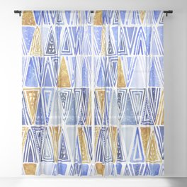 Indigo Blue Gold Tribal Ethnic Triangles Pattern Sheer Curtain