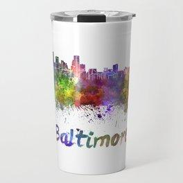 Baltimore skyline in watercolor Travel Mug