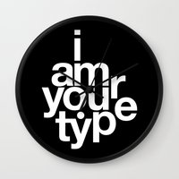 helvetica Wall Clocks featuring HELVETICA! by THE USUAL DESIGNERS