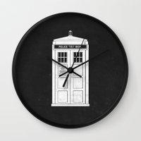 doctor who Wall Clocks featuring DOCTOR WHO by John Medbury (LAZY J Studios)