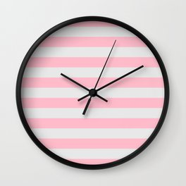 Pink & Gray Stripes Wall Clock