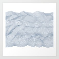 Facets - White and dark blue Art Print