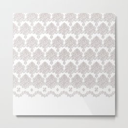 Off-White Damask Chenille with Lace Edge Metal Print