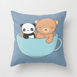 Kawaii Cute Brown Bear and Panda Throw Pillow