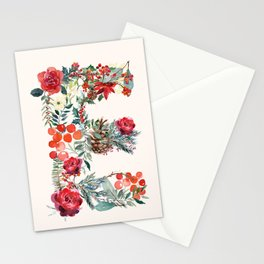 E Alphabet Floral Watercolor Stationery Cards