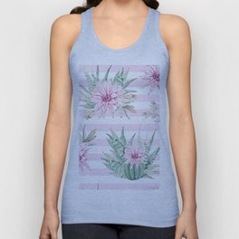 Rose Stripe Succulents - Pink and Mint Green Cactus Pattern Unisex Tank Top