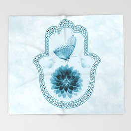 Butterfly Lotus Blue Hamsa Hand Throw Blanket