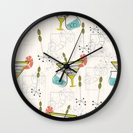 Mid Century Modern Cocktail Hour Wall Clock