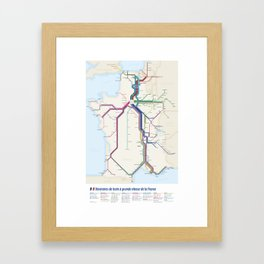 Itinéraires de train à grande vitesse de la France Framed Art Print