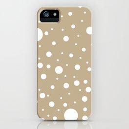 Mixed Polka Dots - White on Khaki Brown iPhone Case