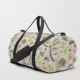 Woodland Snail in Watercolor Fungi Forest, Moss Green and Ochre Earth Animal Pattern Duffle Bag
