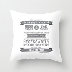 Good Things & Bad Things (gray) Throw Pillow