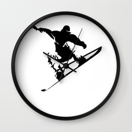 Snowboarding Black on White Abstract Snow Boarder Wall Clock