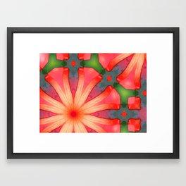 Red Round Framed Art Print