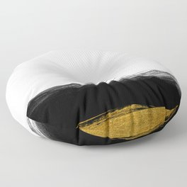 Black and Gold grunge stripes on clear white background - Stripe - Striped Floor Pillow