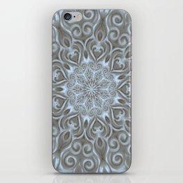 Light Blue Center Swirl Mandala iPhone Skin
