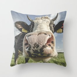 Inquisitive Cow Throw Pillow