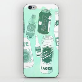 Vacation beers in mint green iPhone Skin