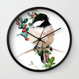 chickadee and berries Wall Clock