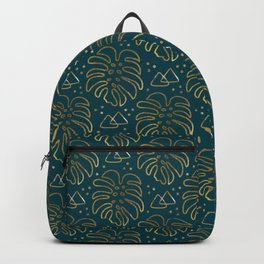 Gold Monstera on Teal Backpack