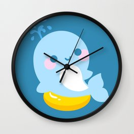Kawaii whale sunbathing Wall Clock