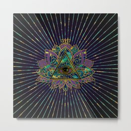 All Seeing Mystic Eye in Lotus Flower Metal Print