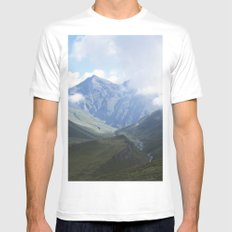 Mountains White MEDIUM Mens Fitted Tee