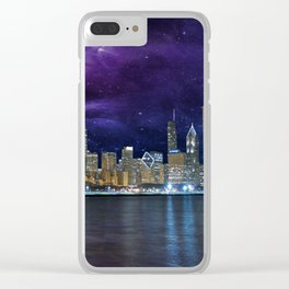 Spacey Chicago Skyline Clear iPhone Case