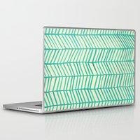 herringbone Laptop & iPad Skins featuring Mint Herringbone by Cat Coquillette