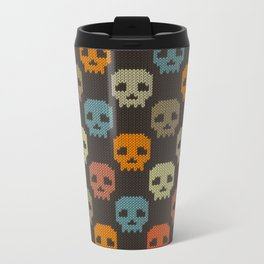 Knitted skull pattern - colorful Metal Travel Mug