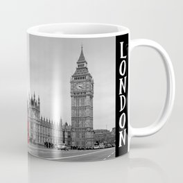 Black and White London with Red Bus Coffee Mug