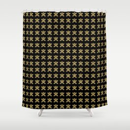 Replica of Pre-Columbian Pectoral Pattern in Gold Leaf on Black Shower Curtain