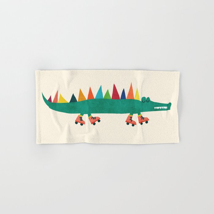 Crocodile on Roller Skates Hand & Bath Towel