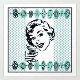 Mid-Century Modern Art Cocktail Teal Art Print