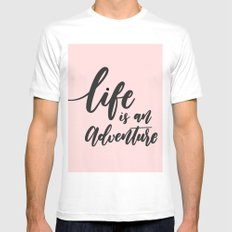 life is an adventure MEDIUM Mens Fitted Tee White