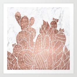 Modern faux rose gold cactus hand drawn pattern illustration white marble Art Print